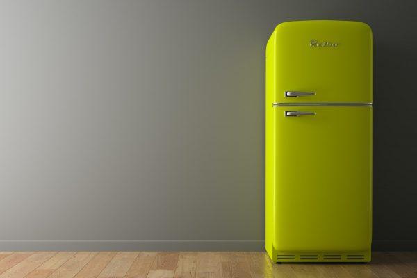 Interior with green fridge 3D illustration